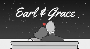 drawing in black and white showing man and woman from back sitting on bench with heads together and a red heart with the name Earl & Grace at the top