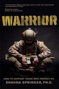 The front cover of WARRIOR: HOW TO SUPPORT THOSE WHO PROTECT US by Shauna Springer, PhD features a Marine in desert camo and an endorsement by bestselling author Sebastian Junger