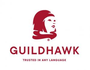 Guildhawk Registered Trade Mark Symbol of an Aspirational Girl wearing a flowing Red Scarf and the copyright name Guildhawk, beneath is the company motto Trusted in Any Language www.guildhawk.com