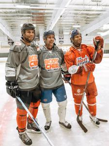 Retired professional hockey player, Marvin Degon IV and the Athletes for CARE team hit the ice on Sunday