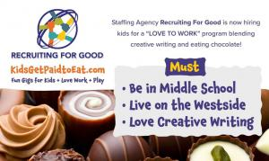 Hiring Kids for The Sweetest Gig to Eat Chocolate + Love Work + Play #kidsgetpaidtoeat #thesweetestgig #kidslovework www.KidsGetPaidtoEat.com