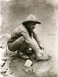 Many, like this solitary miner, came west to seek their fortunes in the California Gold Rush