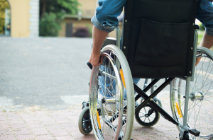MS patient in wheelchair