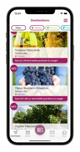 Routemotion - Wine Travel Card App Destinations Screen