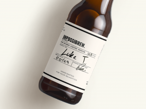 Close up bottle of IMPOSSIBREW Lager Pre-Release Limited Edition.