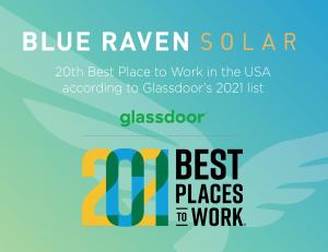 Photo of Glassdoor award and Blue Raven Solar logo