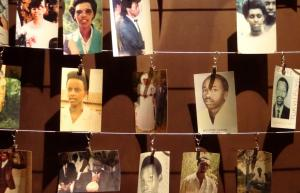 Faces of massacred Rwandans on display in a museum about tolerance