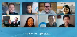 Snapshot from the team from Fourier Intelligence and HumanXR.  From top left: Mr Niels Wetzels, Mr Zen Koh, Mr Han Dols, Ms Sandra Lee. From bottom left: Mr Marco Ghislanzoni, Ms Sarah Lim, Mr Owen Teoh, Mr Jake Kee.