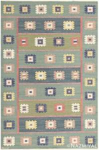 "VINTAGE SWEDISH KILIM ,""GRON ANG "" signed 'AB MMF"" , 5 ft 7 in x 8 ft 4 in"