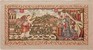 VINTAGE PICTORIAL NEEDLE POINT RUG,3 ft 6 in x 6 ft 5 in