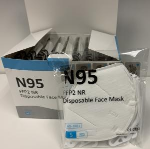 AnDum N95 face mask box, open, with package of five white N95 masks sitting in front