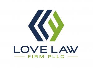Love Law Firm logo with blue Ls and a green F in a stylized diamond