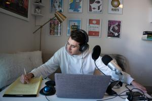 Podcast host, Ben Marullo, gets ready to record a new episode