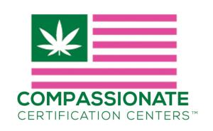 pink and green flag with weed leaf emblem