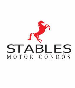Image of Stables Motor Condo logo. It is a red stallion.