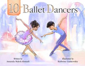 The cover of 10 ballet dancers features a drawing of two child ballet dancers, appearing male and female, bowing to each other.