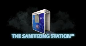 Image shows Sanitizing Station in mist.