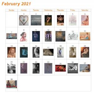 Feb 2021 Art of the Day Calendar with 28 artworks, each work Art of the Day.