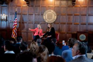 Maryanne Parker and Caitlyn Jenner at Harvard Club of Boston