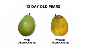Side-by-side comparison of fresh pears with and without Akorn edible coating
