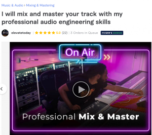 Fiverr choice badge for audio engineer