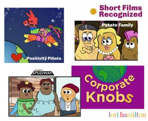four logos of shows potato family, positivity pinata, project spudway and corporate knobs