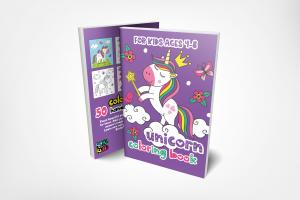 Unicorn Coloring Book Ages 4-8 by Koka Kids Front and Back Cover