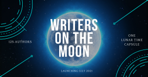 Moon with words Writers on the Moon in the center.