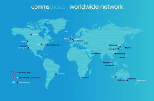 Map showing location of CommsChoice Microsoft Team Direct Routing Nodes