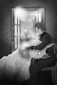 a black and white illustration of a woman sewing a giant cat's head back on to its body.