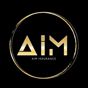 Letters A-I-M in gold inside a circle on a black background, describing the AIM Logo