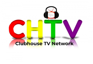 Colorful logo for Clubhouse TV Network featuring call letters for the network  (CHTV ) and a small television wearing earphones standing on top of the letter T.