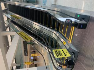 A picture of Clearwin UV-C Escalator Handrail units installed at Syracuse Hancock International Airport