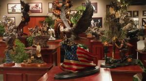 Spirit of American eagle on flag in treasure investments corp & foundry michelangelo's museum showroom