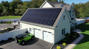 Installation of black on black Solaria PowerXT solar panels on Long Island