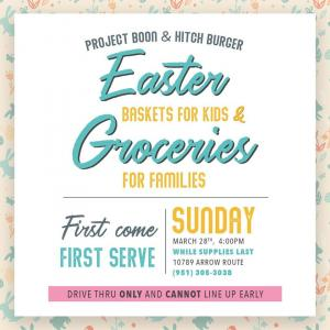 Project Boon's upcoming Easter event at The Hitch Burger Grill on March 28th at 4:00 PM