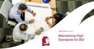 Image of architects and engineers reviewing plans with words maintaining high standards for BSI, a Guildhawk case study for British Standards Institution beside the copyright Guildhawk symbol of an Aspirational Girl wearing a red scarf
