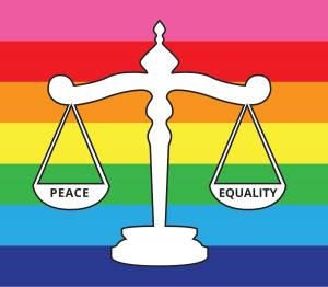 A LGBTQIA+ Rainbow block embedded with the Scales of Justice balancing Peace and Equality