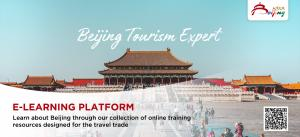 Poster for the Beijing Tourism Expert e-learning platform for travel agents with a background image of the Forbidden City