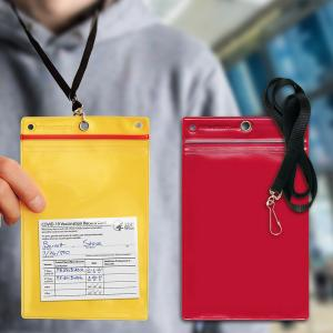Man wearing a red plastic pocket on a lanyard around his neck, with vaccine card inside.