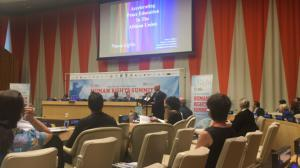 Peace Lights played and Peter Rogina spoke at Human Rights Summit at United Nations in July '18