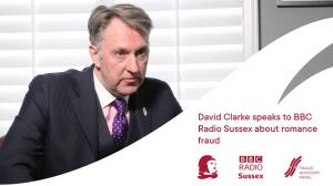 Photograph of David Clarke Guildhawk Director of Integrity and swoosh banner beneath with words Speaks to BBC Radio Sussex about Romance Fraud