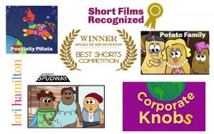 Images of animated characters for Project Spudway with potato people designers, Positivity Pinata with a pinata jumping across a moon, Corporate Knobs with a world graphic, Potato Family with potato people