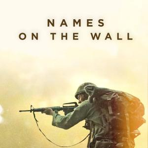 "Text: ""Names On The Wall"" above the profile of a US Soldier in the Viet Nam war holding up a rifle in full combat uniform"