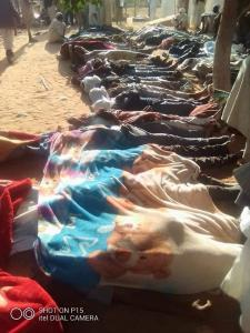 Victims in the town of Tuwail in the South Darfur Region. A large number of RSF/Janjaweed militias in civilian clothes riding horses, camels, motor-cycles and pickup trucks attacked the town on January 20, 2021. (photo provided by Muhammed Umar of AMSED)