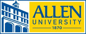 Allen University Logo, yellow background with blue writing that reads Allen University 1870 accompanied by sketch of building