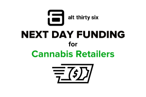 Cannabis retailers can now enjoy compliant, safe, and swift next day funding when they accept Alt36 as their cashless payment solution in-store and online!