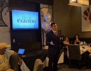 Dr. Yan Katsnelson presenting keynote address at the Women's Health & Wellness Uterine Fibroid Awareness Reception