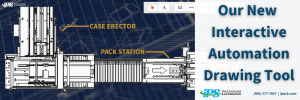 navy blue graphing paper with white line drawing of automated packaging line text says our new interactive automation drawing tool