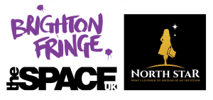North Star logo black with outline of woman with suitcase and theSpaceUK and Brighton Fringe logos